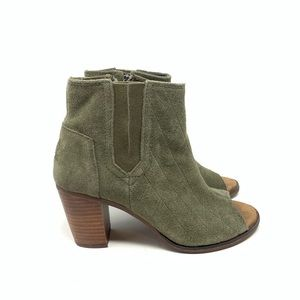 Toms 6 Majorca Peep Toe Bootie Olive Suede Quilted